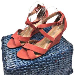 Orange Suede Strappy Wedge Sandals Size 9.5
